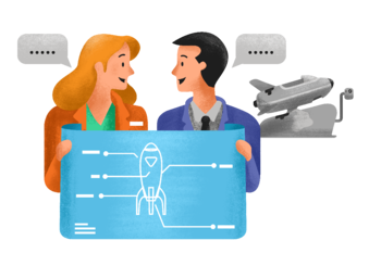 A man and woman holding a blueprint of a rocket