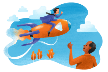 A man riding a rocket in the air while another man cheers him on from the ground