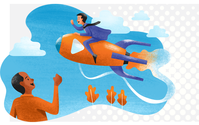 About Our Company Supporting Image - Man riding rocket while man in orange jacket waves and smiles