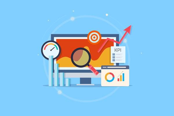 AdobeStoKpi analytic, online data monitoring, key performance indicator, business success measurement, intelligent marketing metrics. Flat design vector web banner with elementsck_295477431