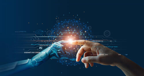 AI, Machine learning, Hands of robot and human touching on big data network connection background, Science and artificial intelligence technology