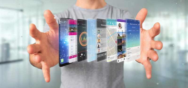Businessman holding 3d rendering app template on a smartphone