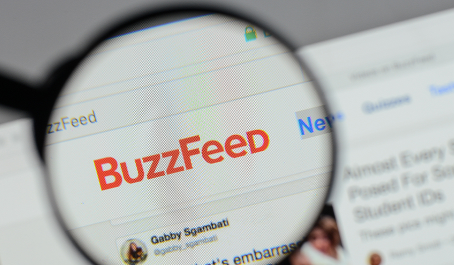 Buzzfeed. logo on the website homepage