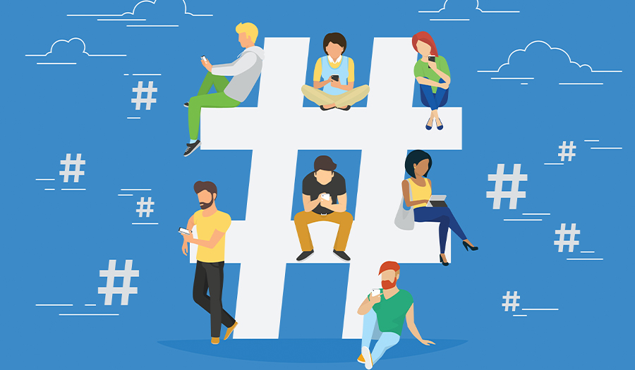Hashtag concept illustration of young various people using mobile gadgets