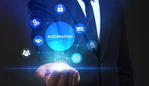 Business man holding automation hologram
