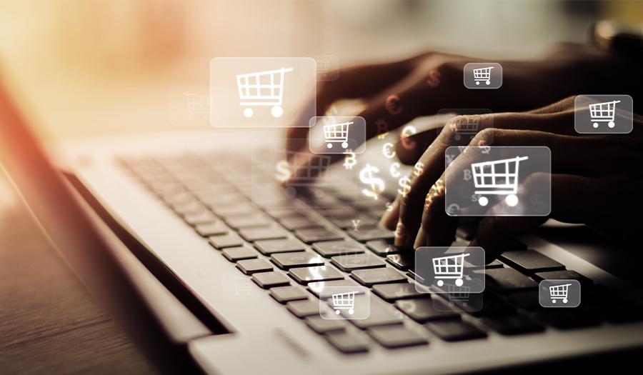 Businesswoman laptop using , online shopping concept