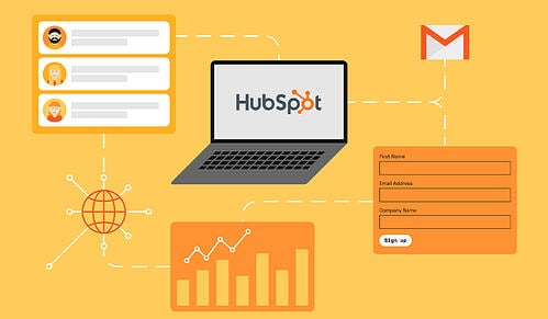 Hubspot orange graphic with laptop in the middle_