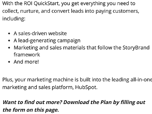Roi online quickstart copy example