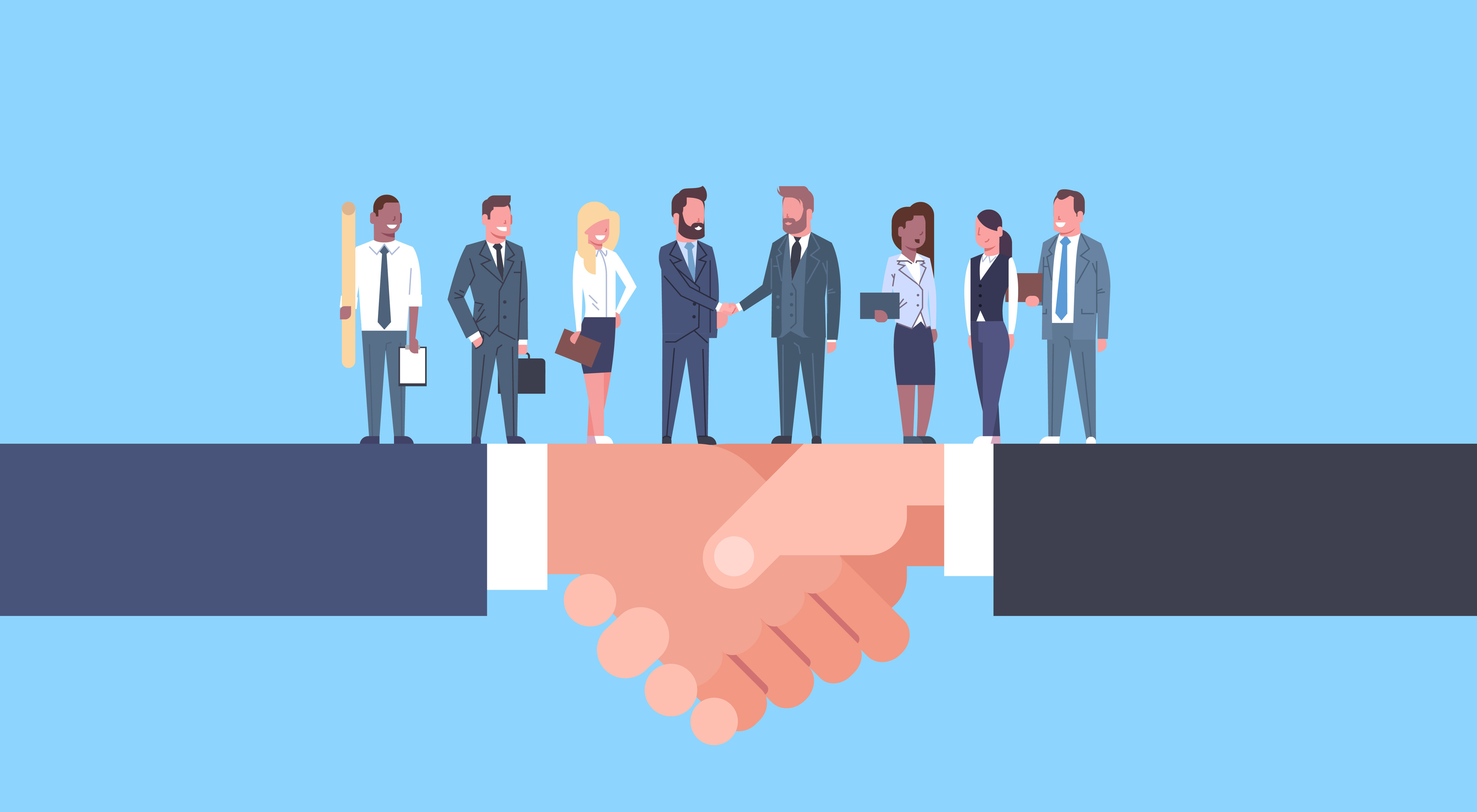 Two Businessmen Shaking Hands With Team Of Businesspeople, Business Agreement And Partnership Concept Flat Vector Illustration Licensed FILE #  196741746  Preview Crop  Find Similar