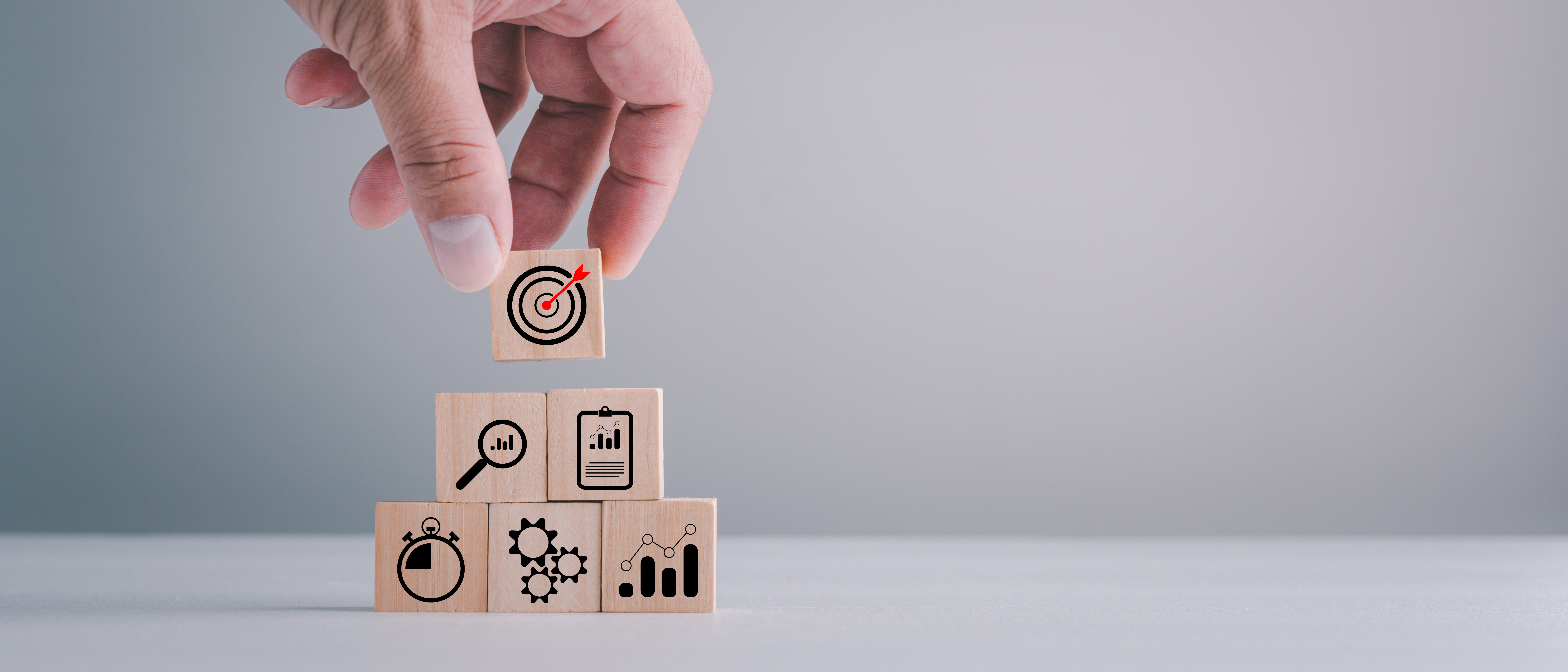 business strategy, Action plan, Goal and target, hand stack woods block step on table with icon about business strategy and Action plan. business development concept. copy space