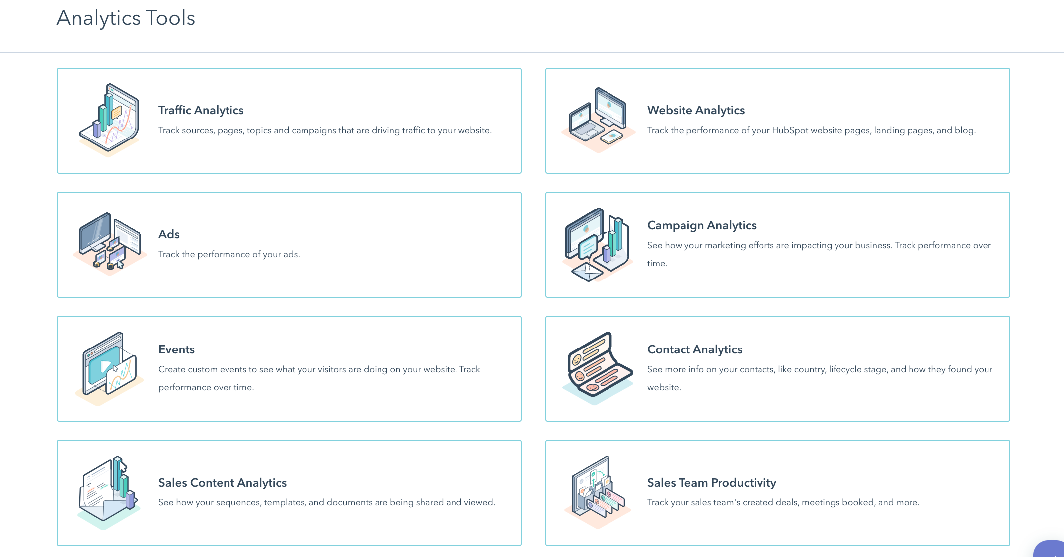 hubspot analytics page