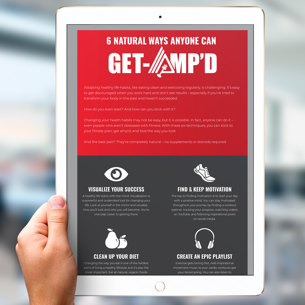 6 Natural Ways To Get Amp'd - Free Infographic - Design and Content by ROI Online Graphic
