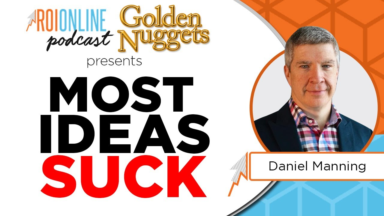 most business ideas suck colorful podcast thumbnail with white baby blue and orange background and red text with cutout of man in a suit to the right
