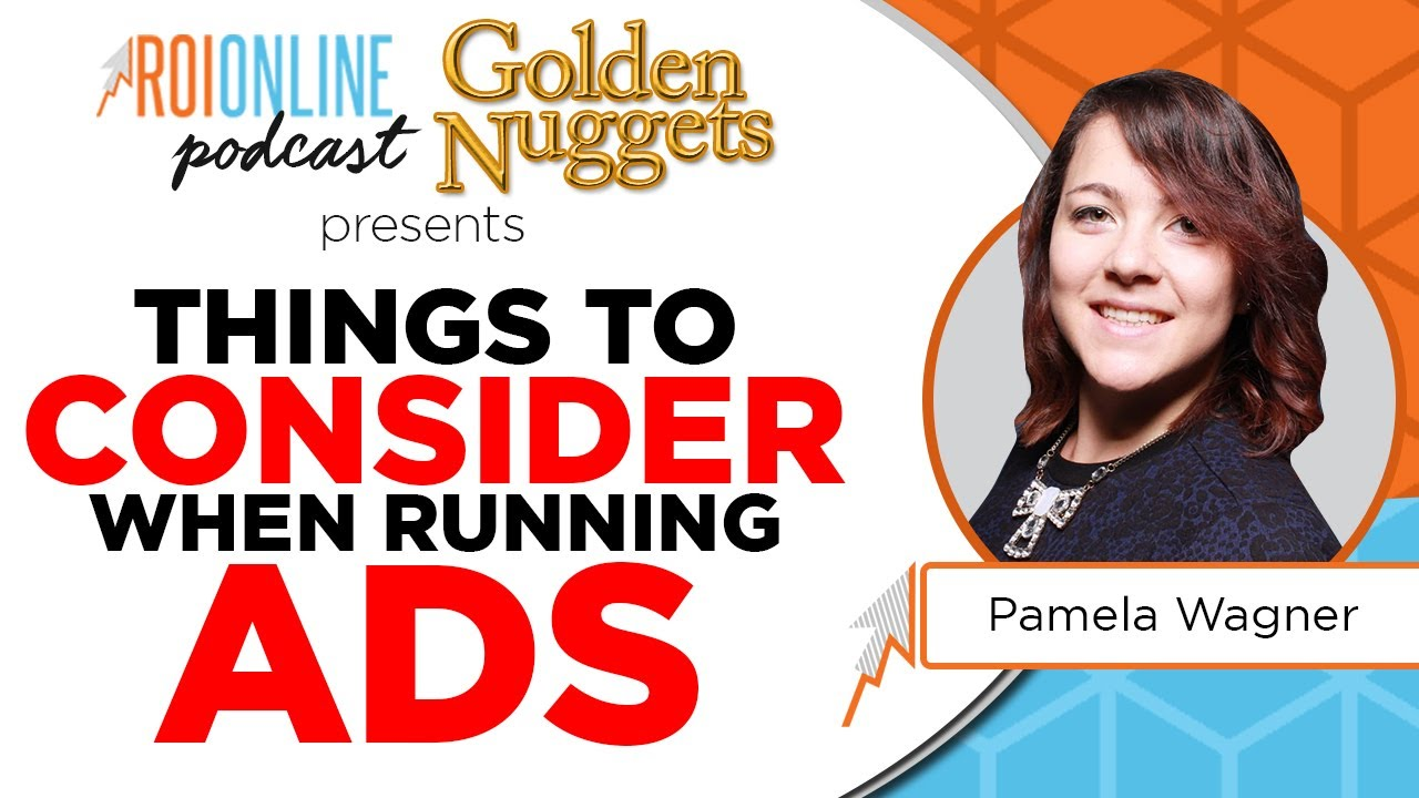 things to consider when runnings ads baby blue and organge podcast thumbnail with red text