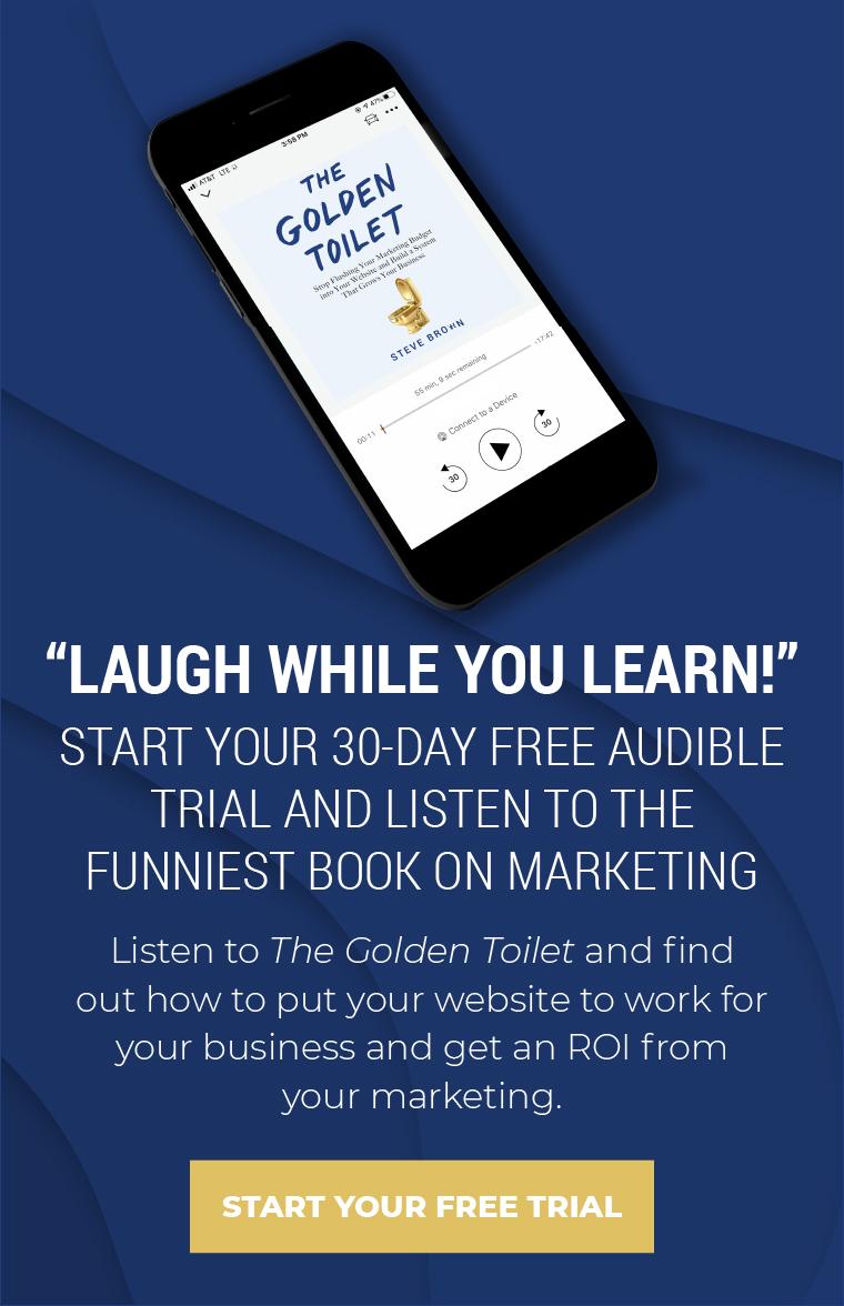 Golden Toilet Promo - CTA For Blog Template - Funniest - Audible