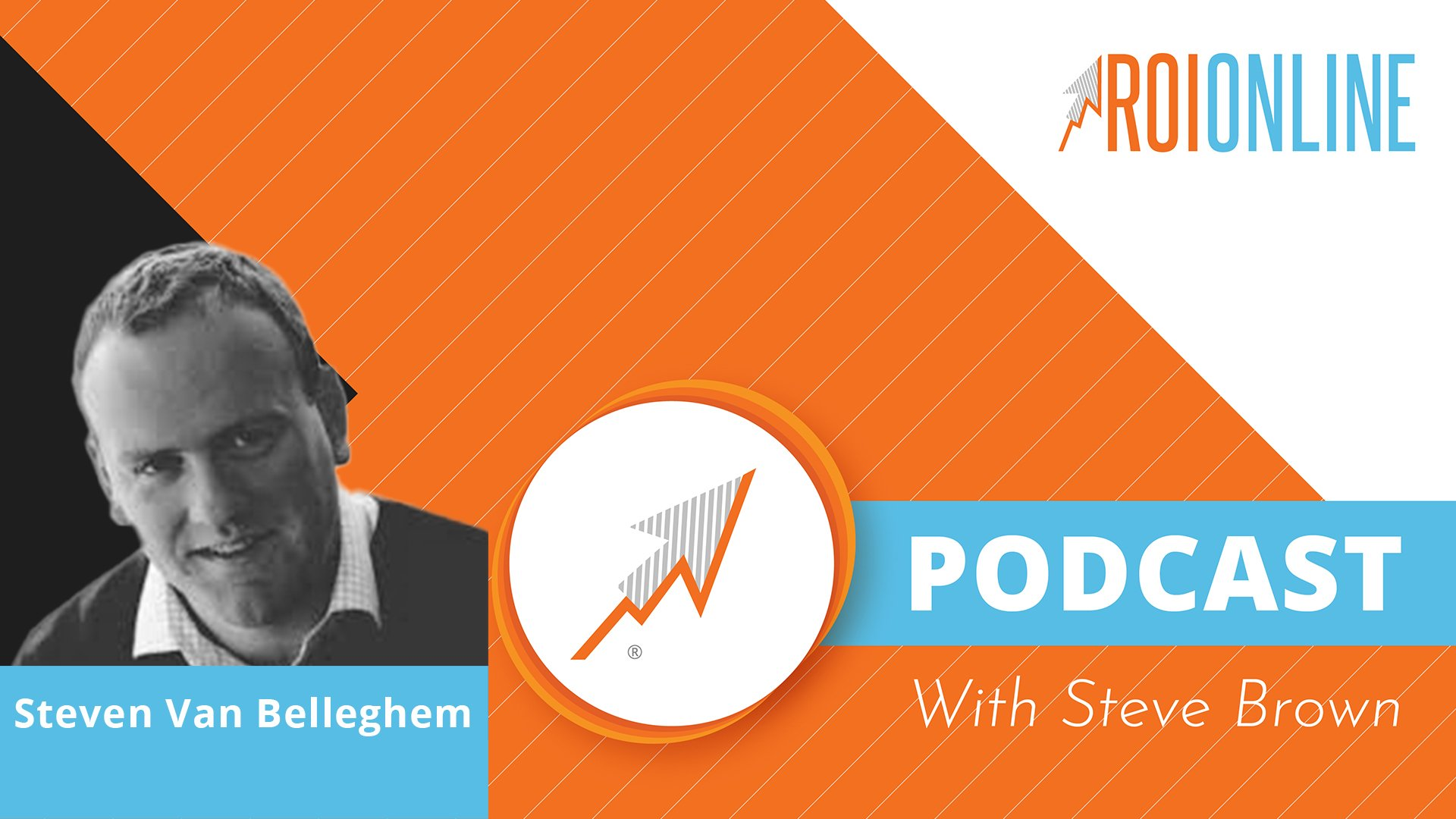 ROI Online Podcast thumbnail graphic on orange background and white and baby blue text