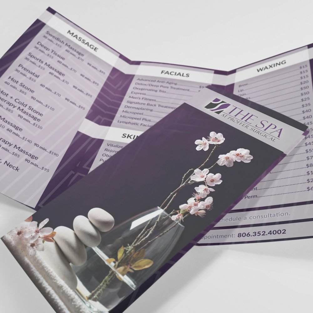 Proffer Spa Menu - Trifold Brochure - Design by ROI Online Graphic